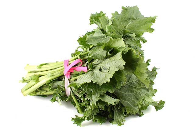 A Bunch of Green Broccoli Rabe Leaves (Rapini).