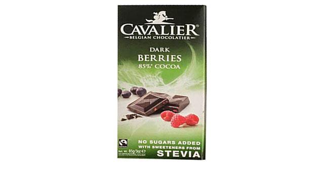 Cavalier Stevia-Sweetened Dark Chocolate Bar With Berries.