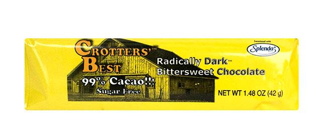 Crotters' Best Sucralose-Sweetened Dark Chocolate.