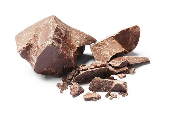 Delicious Chunks of Dark Chocolate On a White Background.