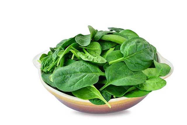 A Bowl of Fresh Green Spinach Leaves.