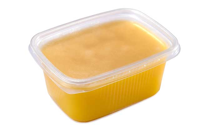 Ghee (Pure Butterfat) In a Glass Tub.