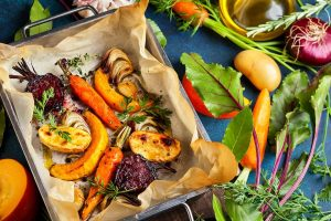 A Variety of Healthy Types of Root Vegetables On a Baking Pan.