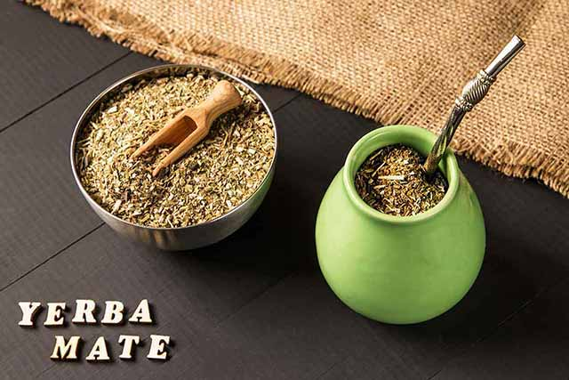 Yerba Mate Tea Leaves and a Calabash Gourd.
