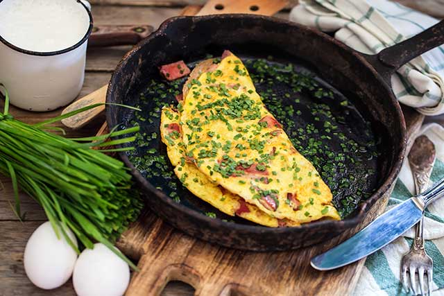 Bacon, Cheese and Chive Omelet.