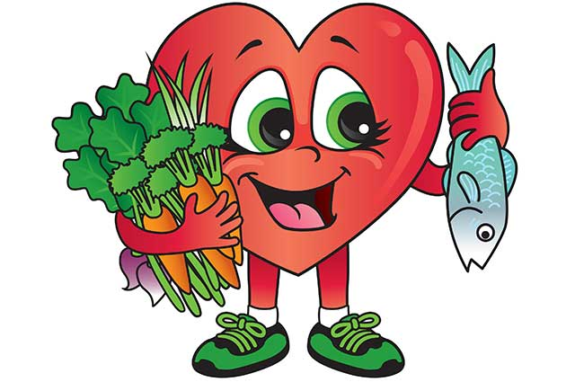 Cartoon Heart Holding Mackerel and Vegetables - Cardiovascular Health Theme.