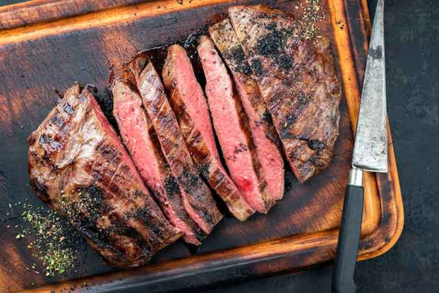 Dry-aged Barbecued Flank Steak Chopped Into Slices.