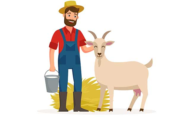 A Farmer Holding a Bucket of Goat Milk Standing Next To a Goat.