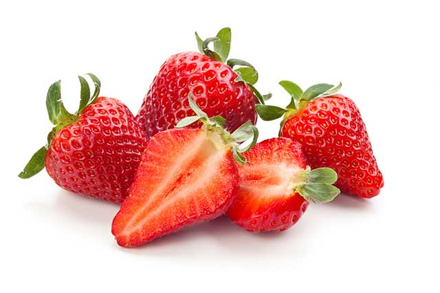 Fresh Whole Strawberries and Strawberry Halves.