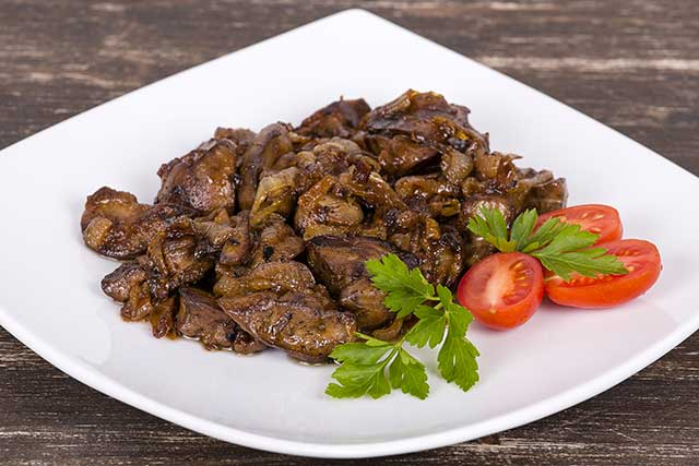 Fried Chicken Livers and Onions.