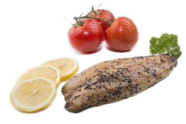 Mackerel Fillet, Tomatoes, and Lemon.