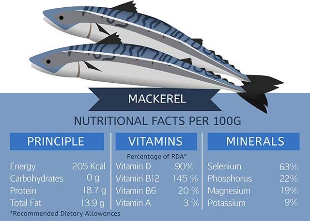 Mackerel Nutrition Facts Per 100 Grams.