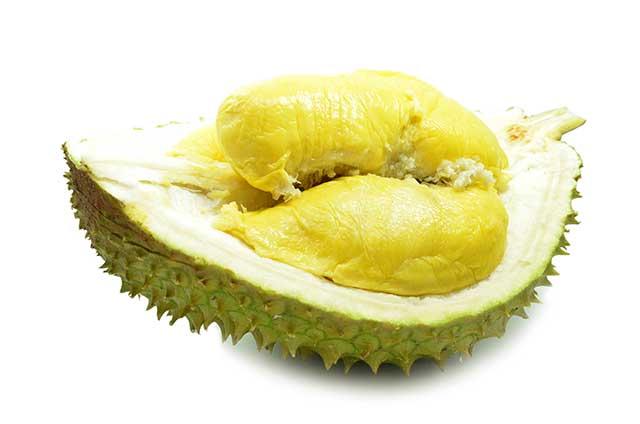 A Durian Fruit Cut Open Showing the Inner Flesh.