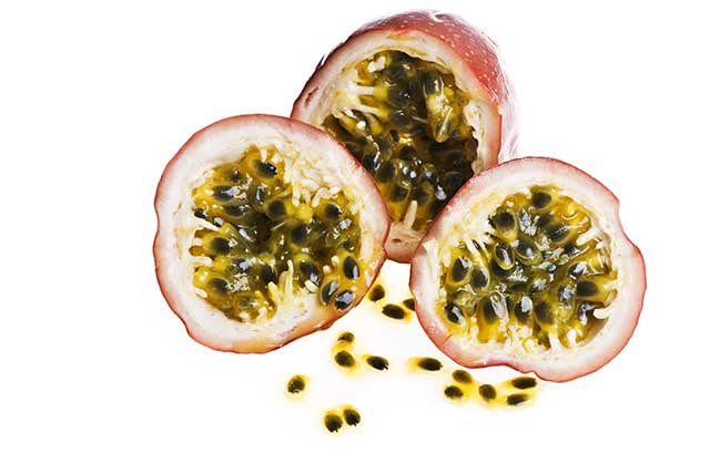 Pieces of Passion Fruit Showing the Inner Flesh and Seeds.