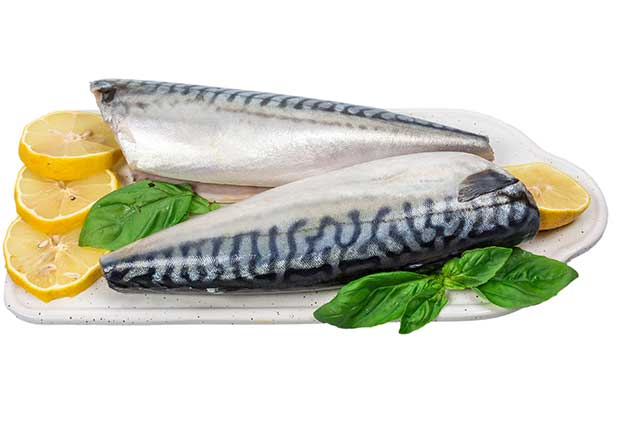 Raw Mackerel On a Kitchen Board With Lemon Slices.