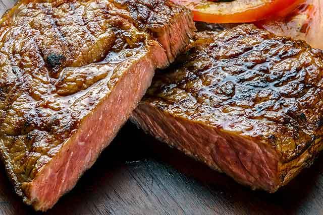 Reverse Seared Medium Rare Steak.