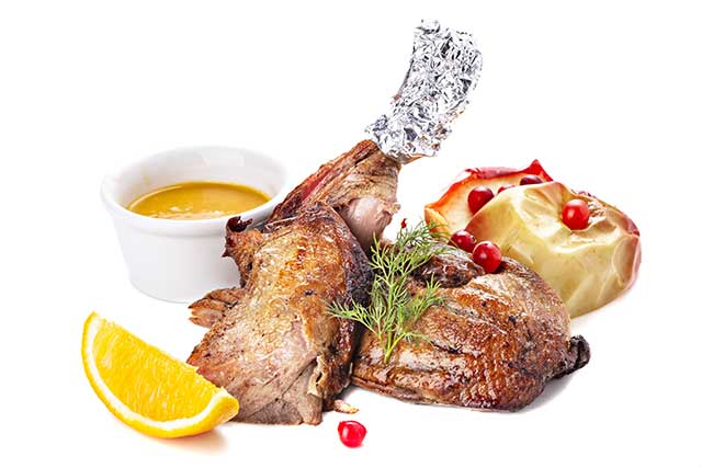 Roasted Duck Meat With Sides.
