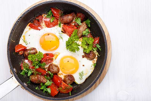 Sausages, Eggs, and Tomatoes Breakfast Pan.