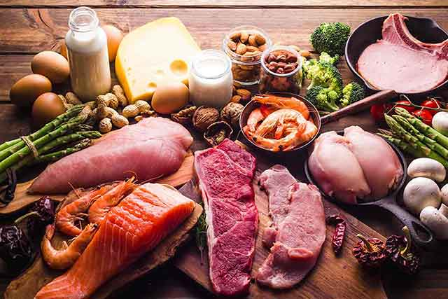 A Variety of Protein Foods On a Wooden Table.
