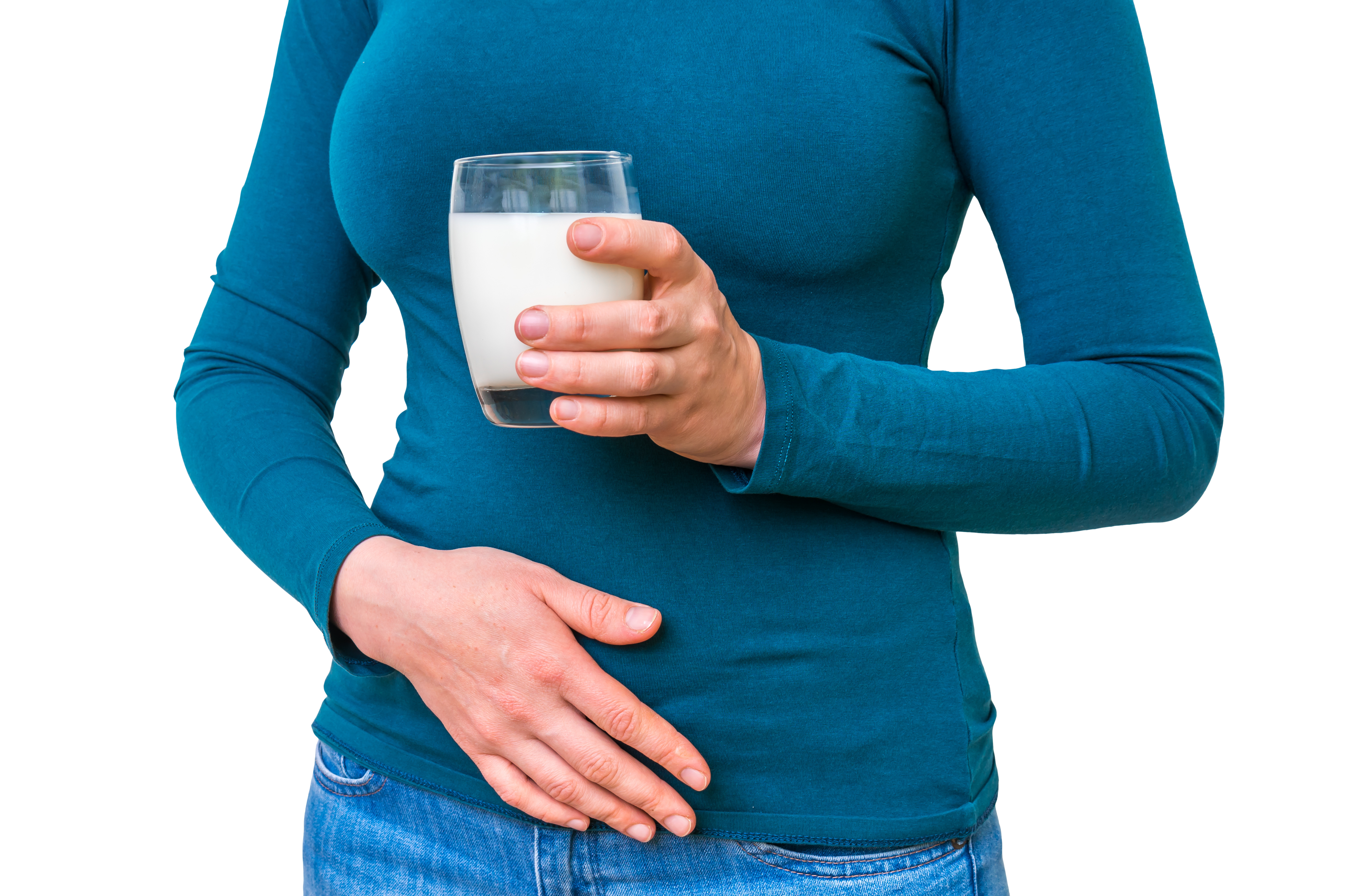 Woman Drinking Milk and Holding Her Stomach.