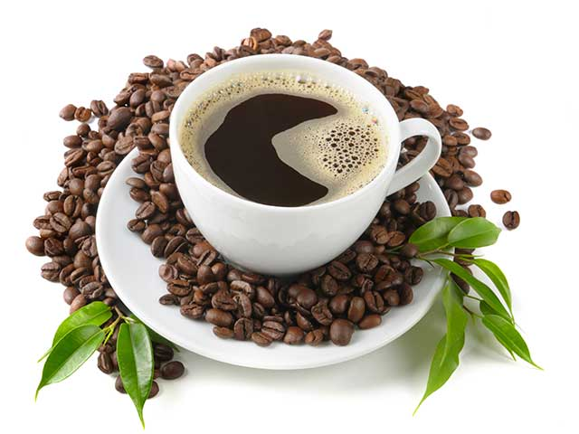 Cup of Black Coffee On a Saucer Full of Coffee Beans.