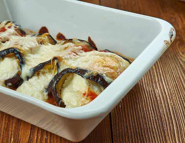 A Freshly Baked Lasagna Using Eggplant Slices Instead of Pasta.