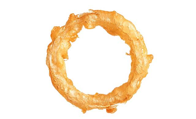 A Deep-Fried Onion Ring With Crispy Batter.