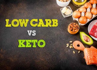 Picture of Low Carbohydrate Foods With the Words Low Carb vs Keto.
