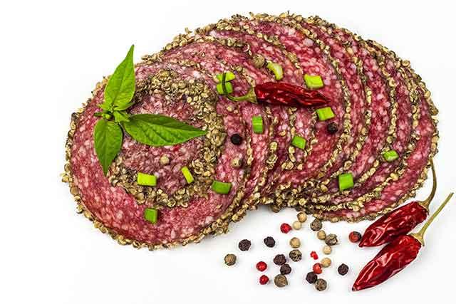 Slices of Italian Salami Meat.