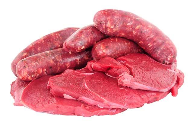Strips of Venison Meat Steak and Venison Sausages.