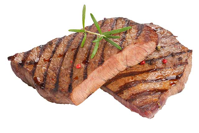 Two Medium Well Done Beef Steaks.