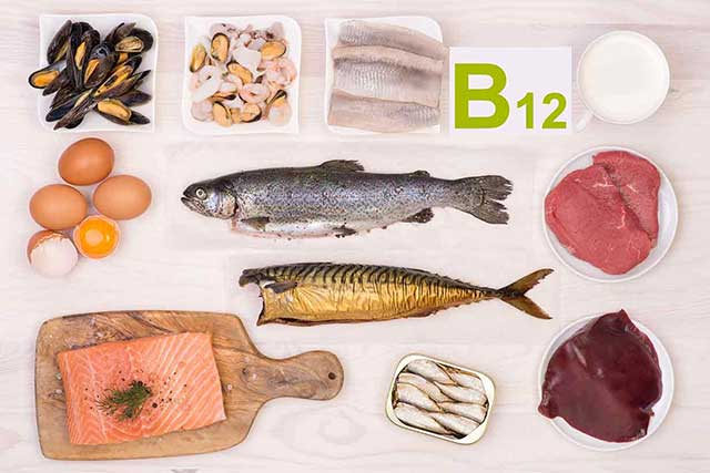 Image Showing Foods Rich In Vitamin B12: Meat, Eggs and Seafood.