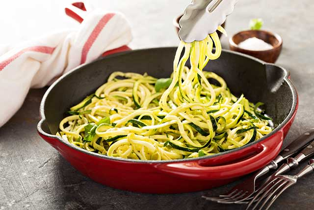 Spiralized Zucchini Noodles (Zoodles) - a low carb pasta alternative.