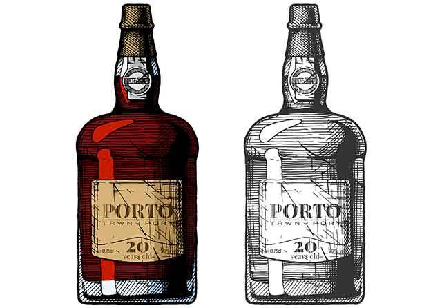 Bottle of Port Sweet Dessert Wine.