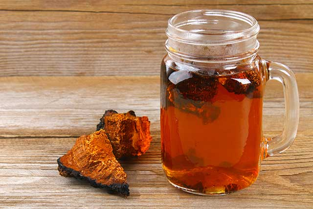Dried Chaga Mushroom Next To Glass Cup of Chaga Mushroom Tea.