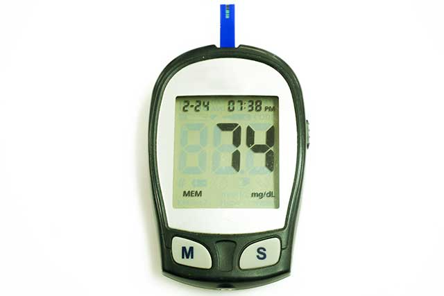 Glucose Meter Showing Blood Glucose Level.
