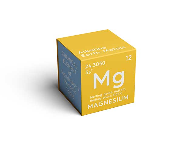 Cube Showing the Magnesium Chemical Element Name and Symbol.