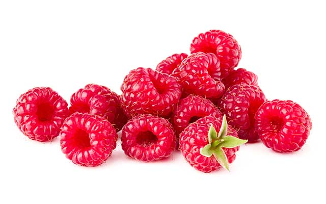 Red Raspberries With Green Stem Attached To One.