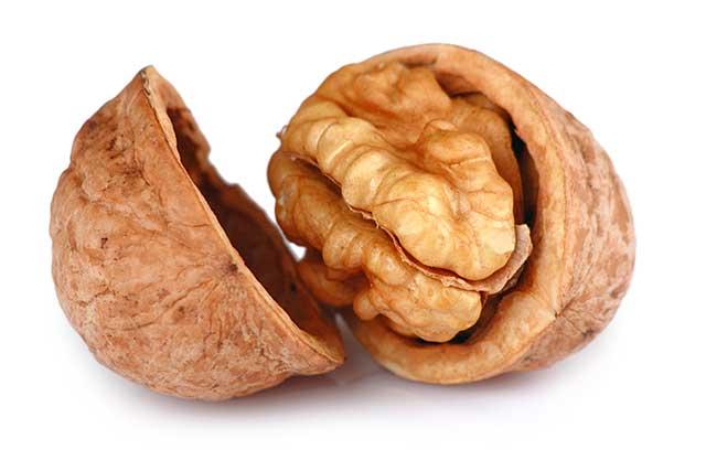 A Single Cracked Walnut In Its Open Shell.