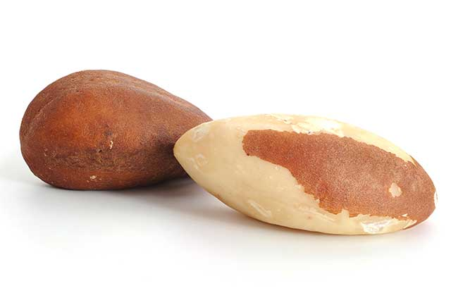 Brazil Nuts - One With Skin Versus One Without.