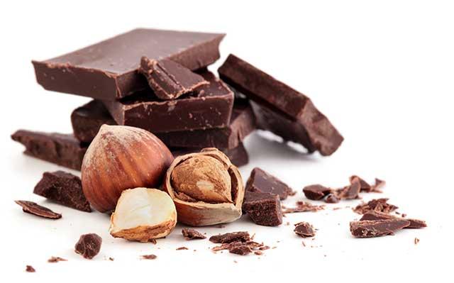 Dark Chocolate Pieces and Hazelnuts - a Delicious Combination.