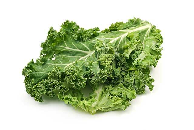 Several Kale Leaves On a White Background.