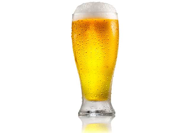 A Light Lager Beer In a Pint Glass.