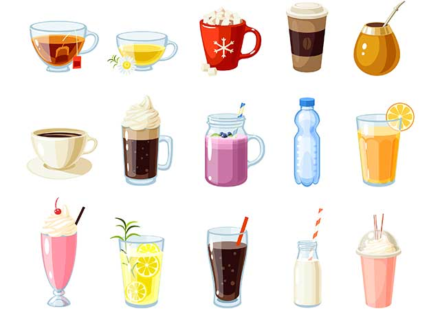 Various Different Hot and Cold Drinks.