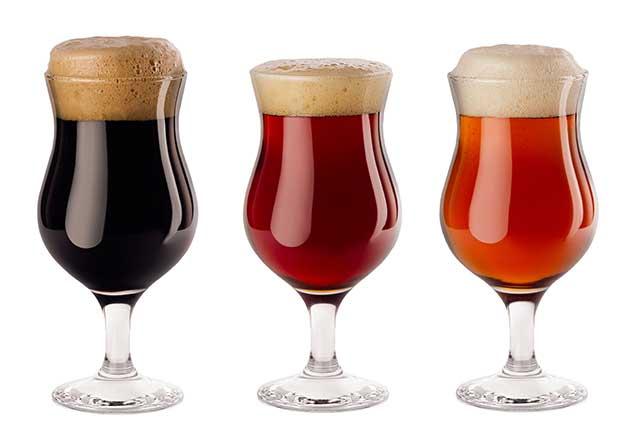 Various Types of Beer In Wine Glasses.