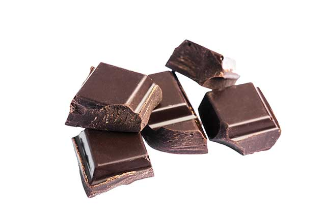 Chopped Cube-Shaped Pieces of Dark Chocolate.