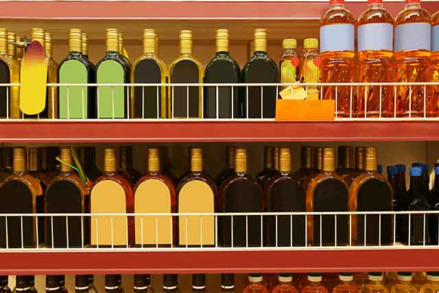 Cooking Oils On Store Shelves.