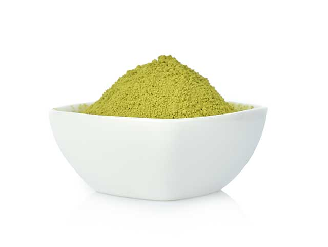 Matcha Green Tea Powder In a White Bowl.