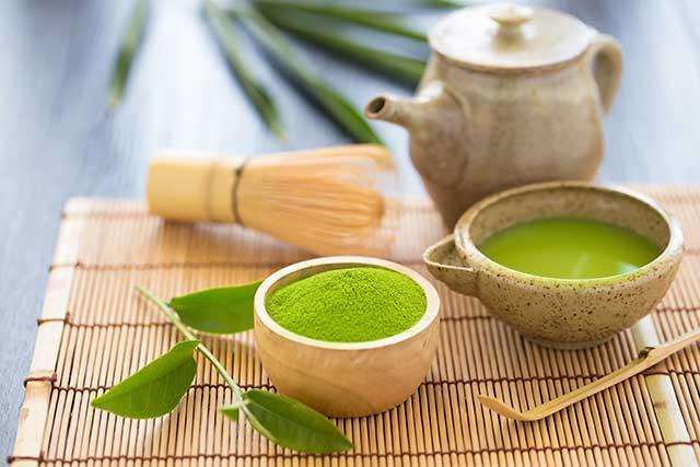 Matcha Tea With Matcha Powder and Traditional Japanese Tea Set.