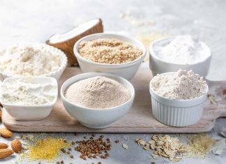 Various Low Carb Flours In Bowls.